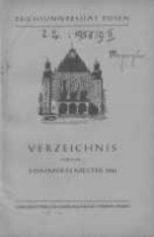 Personen- und Vorlesungs-Verzeichnis der Reichsuniversität Posen. Verzeichnis fűr das Sommersemester 1943
