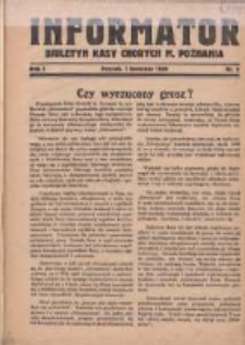 Informator: Biuletyn Kasy Chorych M. Poznania 1929.04.01 R.1 Nr2