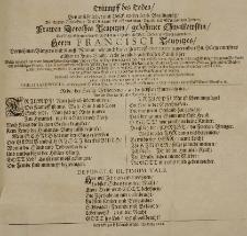 Triumpff des Todes, bey ansehnlicher [...] Leich-Begängnüss der [...] Dorothea Teupitzin, gebohrner Chwalkowskin, des [...] Francisci Teupitzes [...] Haus-Ehre, welche [...] cantate war der 4. May [...] 1681sten Jahres [...]
