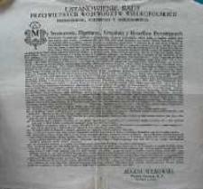 Ustanowienie Rady Przeswietnych Wojewodztw Wielkopolskich Poznańskiego, Kaliskiego Y Gniezninskiego