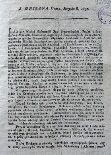 [Informacja o założeniu szpitala w Trzemesznie 1790.08.01]