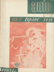 Auto: miesięcznik: organ Automobilklubu Polski oraz Klubów Afiljowanych: organe officiel de l'AutomobilKlub Polska et des clubs affiliés 1934 lipiec Nr7
