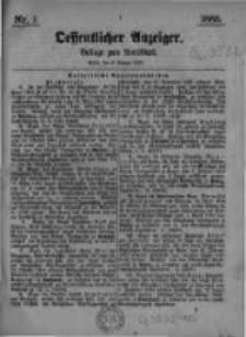 Oeffentlicher Anzeiger. Beilage zum Amtsblatt. Nr.1. 1885