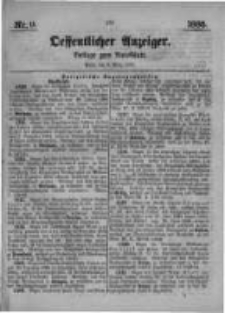 Oeffentlicher Anzeiger. Beilage zum Amtsblatt. Nr.9. 1885
