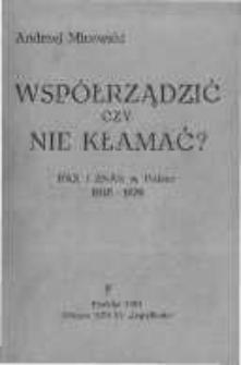 Współrządzić czy nie kłamać? Pax i Znak w Polsce 1945-1976