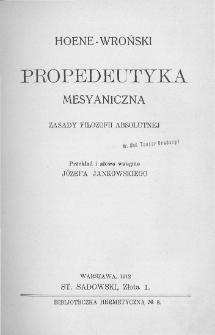 Propedeutyka mesyaniczna. Zasady filozofii absolutnej