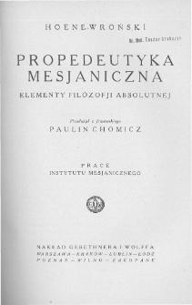 Propedeutyka mesjaniczna. Elementy filozofji absolutnej