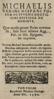 Michaelis Verini [...] Disticha de moribvs [...]