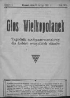 Głos Wielkopolanek: tygodnik społeczno-narodowy dla kobiet wszystkich stanów 1921.02.06 R.14 Z.6