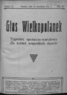 Głos Wielkopolanek: tygodnik społeczno-narodowy dla kobiet wszystkich stanów 1921.04.10 R.14 Z.15