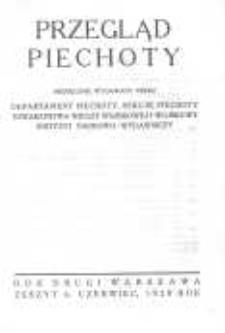 Przegląd Piechoty: miesięcznik wydawany przez Departament Piechoty, Sekcję Piechoty Towarzystwa Wiedzy Wojskowej i Wojskowy Instytut Naukowo-Wydawniczy 1929 czerwiec R.2 Z.6