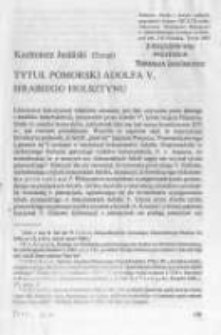 Tytuł pomorski Adolfa V, hrabiego Holsztynu