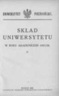 Uniwersytet Poznański: skład osobowy: rok akademicki 1927/28