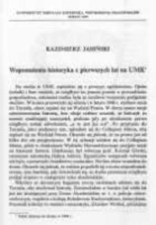 Wspomnienia historyka z pierwszych lat na UMK