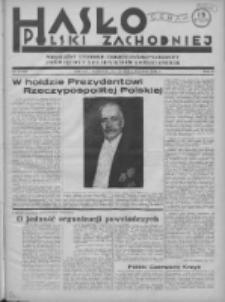 Hasło Polski Zachodniej: niezależny tygodnik chrześcijańsko-narodowy poświęcony zagadnieniom kombatanckim 1936.06.07 R.3 Nr22/23