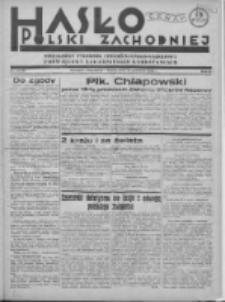 Hasło Polski Zachodniej: niezależny tygodnik chrześcijańsko-narodowy poświęcony zagadnieniom kombatanckim 1936.06.21 R.3 Nr24/25