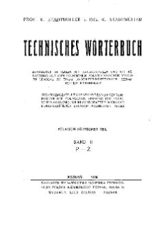 Słownik techniczny: część polsko-niemiecka: tom II P-Ż