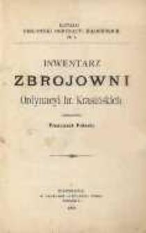 Inwentarz Zbrojowni Ordynacyi hr. Krasińskich