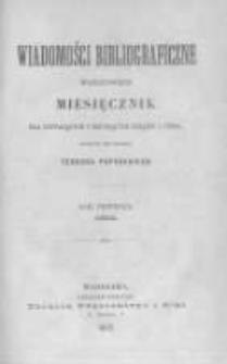Wiadomości Bibliograficzne Warszawskie. 1882 R.1 nr1