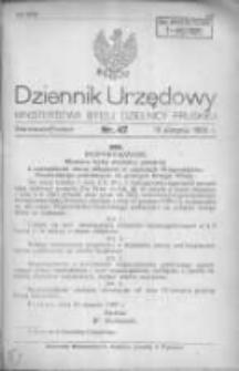 Dziennik Urzędowy Ministerstwa Byłej Dzielnicy Pruskiej 1920.08.19 R.1 Nr47