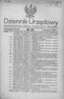 Dziennik Urzędowy Ministerstwa Byłej Dzielnicy Pruskiej 1920.09.07 R.1 Nr52