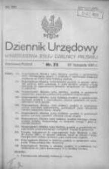 Dziennik Urzędowy Ministerstwa Byłej Dzielnicy Pruskiej 1920.11.26 R.1 Nr75