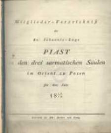 Mitglieder-Verzeichniss der St. Johannis-Loge Piast zu den drei sarmatischen Säulen im Orient zu Posen für das Jahr 5818/19