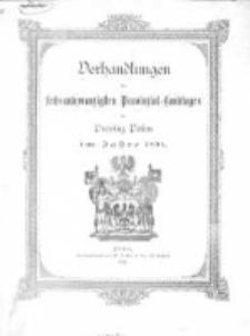 Verhandlungen des sechundzwanzigsten Provinzial-Landtages der Provinz Posen im Jahre 1891