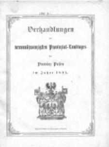 Verhandlungen des neunundzwanzigsten Provinzial-Landtages der Provinz Posen im Jahre 1895