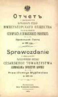 Sprawozdanie z działalności Warszawskiego Oddziału Cesarskiego Towarzystwa Rozmnażania Zwierzyny Łownej i Prawidłowego Myśliwstwa za 1900 rok