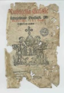 Rubricella Ecclesie Metropolitane Gnesnen. ad Annum Domini 1543 Et post