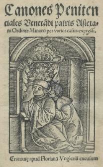 Canones penitentiales [...] patris Astexani [...] per varios casus expressi