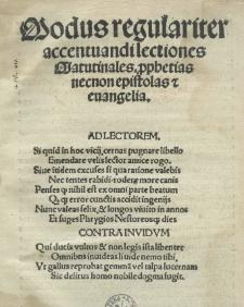 Modus regulariter accentuandi lectiones matutinales p[ro]phetias necnon epistolas et evangelia