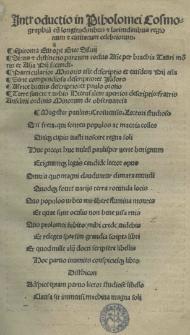 Introductio in Ptholomei Cosmographia[m] cu[m] longitudinibus et latitudinibus regionum et civitatum celebriorum
