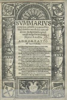 Summarius computus ex variis computualibus libris [...] recollectus cum additione declarationum capituli uniusquiusque denuo castigatus et revisus