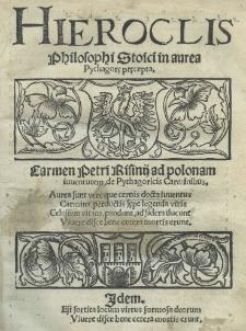 Hieroclis philosophi stoici in aurea Pythagorę pręcepta [...]