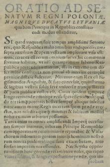 Oratio ad senatvm Regni Poloniae, Magniqve Dvcatvs Litvaniae qua boni principis in republica constituendi modus ostenditur