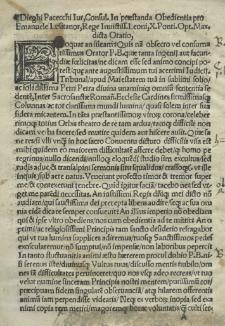 [...] Oratio in praestanda oboedientia pro Emmanuele Lusitanorum rege Leoni X dicta