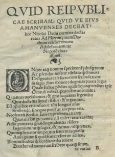[...] Carmen de officio cancellariorum et scribarum, in quo pulchra continentur dogmata [...] notariis [...] scitu dignissima