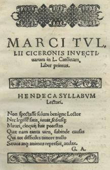 Invectivarum in Catilinam liber I