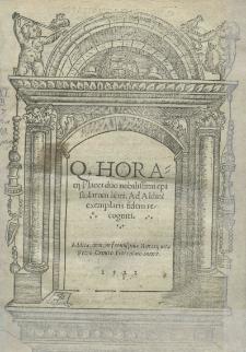 [...] Duo nobilissimi epistolarum libri. Ad Aldini exemplaris fidem recogniti. Addita [...] Horatii vita Petro Crinito [...]