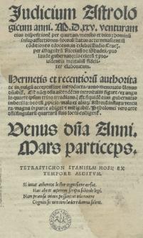 Judicium astrologicum anni 1525 [rom.] per magistru[m] Nicolau[m] de Shadek [...] elaboratum