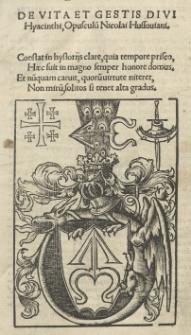 De vita et gestis Divi Hyacinthi Opusculu[m] Nicolai Hussoviani