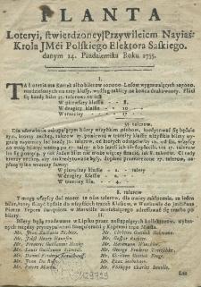 Planta loteryi, stwierdzoney przywileiem [...] krola [...] polskiego elektora saskiego, danym 14 Pazdziernika roku 1755