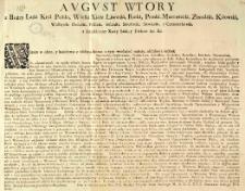 Uniwersał zwołujący sejmiki na 13 Września. Dan w Międzyrzeczu d. 13 sierpnia 1712