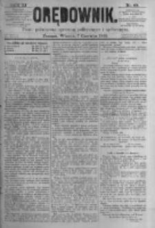 Orędownik: pismo poświęcone sprawom politycznym i spółecznym. 1881.06.07 R.11 nr68