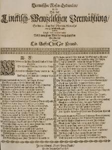 Vermischte Rosen-Gedancken, welche bey der Linckisch-Wentzelischen Vermählung so den 11 Tag des Blumen-Monaths 1688. glücklich vollzogen worden [...] entwarff Ein Auffrichtiger Freund