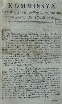 Uniwersał Komisji Porządkowej Cywilno-Wojskowej pow. kościańskiego i ziemi wschowskiej 1792.05.06