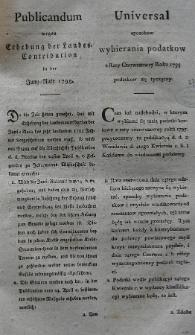 Publicandum wegen Erhebung der Landes-Contribution in der Juny-Rate 1795. Gegeben Posen den 12ten Juni 1795