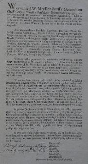 Wezwanie J. W. Moellendorffa Generała en Cheff Corpus Woyska Pruskiego Kommenderuiącego, niżey podpisanych Deputowanych Woiewodztw Poznańskiego, Kaliskiego y Gnieźnieńskiego Komissarzow do Łowicza; ten miało cel: aby dostawianie dla woyska pruskiego furażu, tak urządzonym było, żeby równo wszystkie woiewodztwa które kordon pruski zaymuie, dotykało
